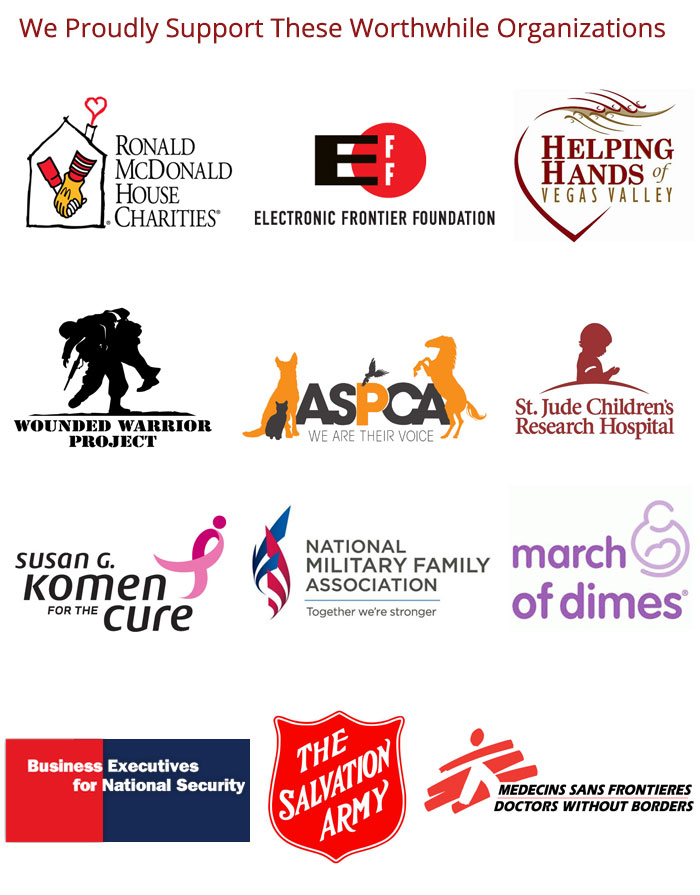 Sites Worldwide Proudly Supports: Ronald McDonald Charities, March of Dimes, Helping Hands of Vegas Valley, Wounded Warrior Project, ASPCA, St. Jude Children's Hospital, and National Military Family Association